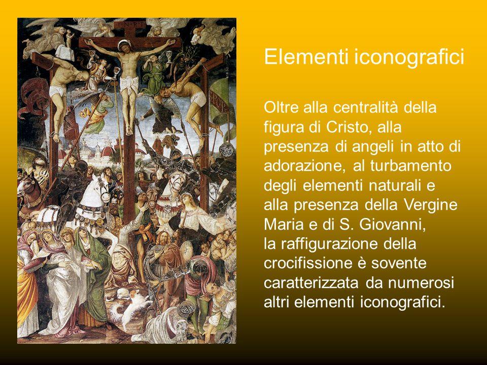 Oltre alla centralità della figura di Cristo, alla presenza di angeli in atto di adorazione, al turbamento degli elementi naturali e alla presenza della Vergine Maria e di S.