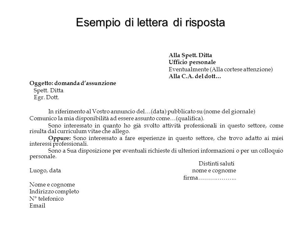 ESEMPIO DI LETTERA D'ACCOMPAGNAMENTO Spett.le Ditta … Alla c.a.