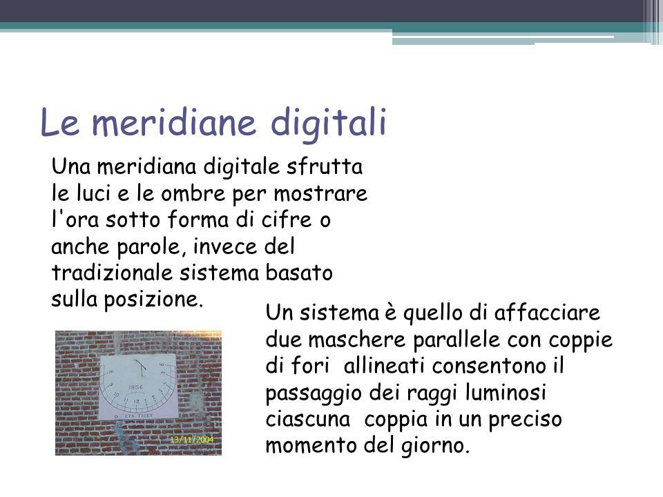 Le meridiane digitali Un sistema è quello di affacciare due maschere parallele con coppie di fori allineati consentono il passaggio dei raggi luminosi ciascuna coppia in un preciso momento del giorno.