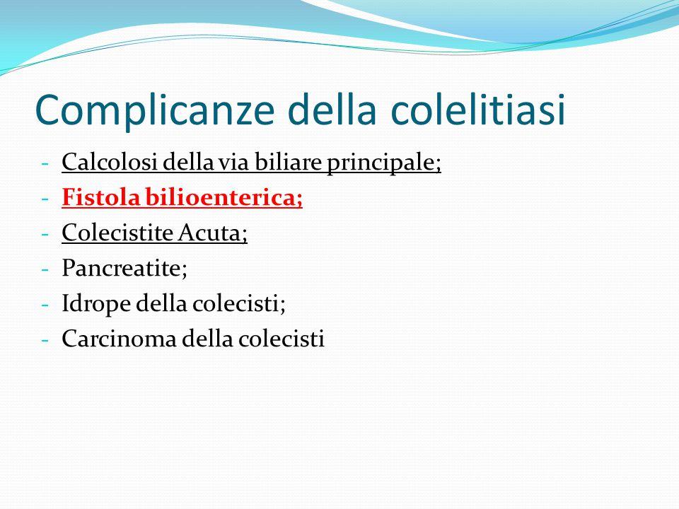 Fistole biliodigestive Si tratta di comunicazioni tra un tratto della via biliare e l'apparato gastroenterico.