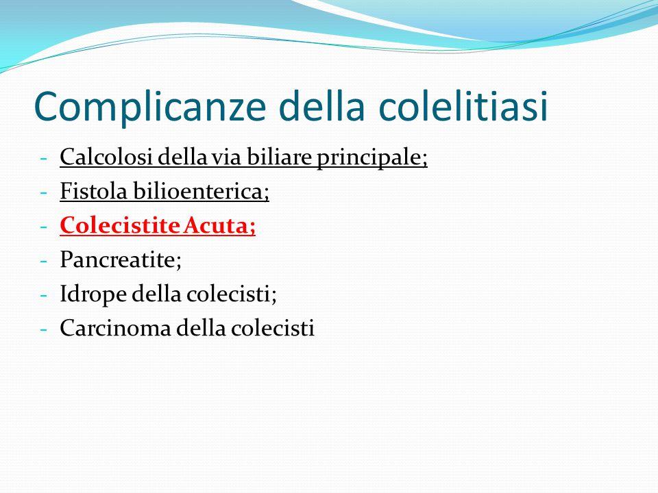 COLECISTITE ACUTA Infiammazione acuta della colecisti dovuta in più del 90% dei casi ad un'ostruzione del collo o del dotto cistico.