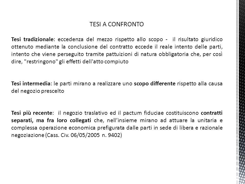 FORME DI FIDUCIA Fiducia cum amico: il trasferimento del diritto è funzionale al disegno del fiduciante.
