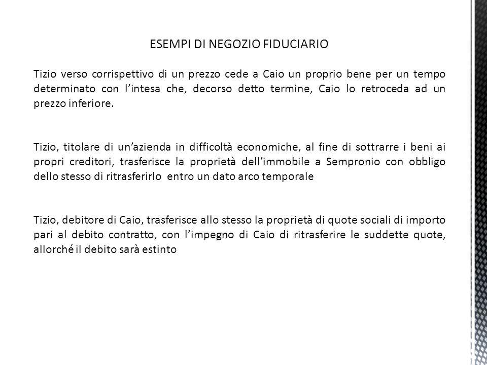 NEGOZIO FIDUCIARIO E PATTO COMMISSORIO (ART.