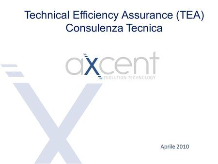 Aprile 2010 Technical Efficiency Assurance (TEA) Consulenza Tecnica.