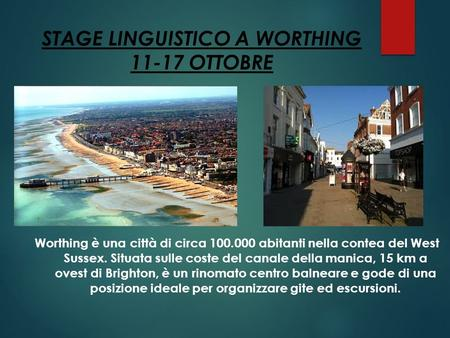 STAGE LINGUISTICO A WORTHING OTTOBRE