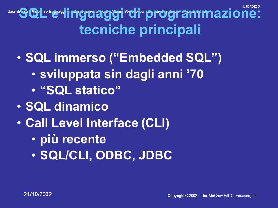 Basi di dati - Modelli e linguaggi di interrogazione- Paolo Atzeni, Stefano Ceri, Stefano Paraboschi, Riccardo Torlone Copyright © 2002 - The McGraw-Hill Companies, srl Capitolo 5 21/10/2002 SQL immerso le istruzioni SQL sono immerse nel programma redatto nel linguaggio ospite un precompilatore (legato al DBMS) viene usato per analizzare il programma e tradurlo in un programma nel linguaggio ospite (sostituendo le istruzioni SQL con chiamate alle funzioni di una API del DBMS)