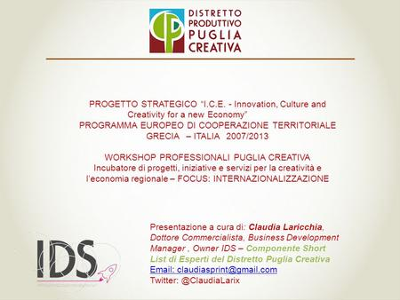 "PROGETTO STRATEGICO ""I.C.E. - Innovation, Culture and Creativityfor a newEconomy"" PROGRAMMA EUROPEO DI COOPERAZIONE TERRITORIALE GRECIA– ITALIA2007/2013."