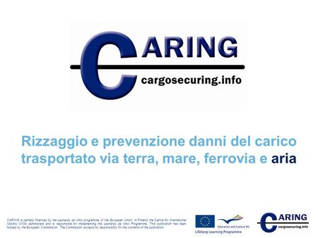 Rizzaggio e prevenzione danni del carico trasportato via terra, mare, ferrovia e aria CARING is partially financed by the Leonardo da Vinci programme of.