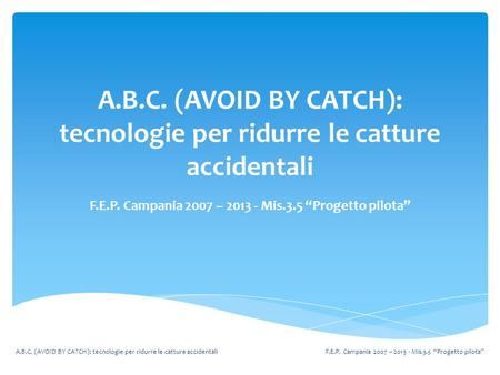 "A.B.C. (AVOID BY CATCH): tecnologie per ridurre le catture accidentali F.E.P. Campania 2007 – 2013 - Mis.3.5 ""Progetto pilota"" A.B.C. (AVOID BY CATCH):"