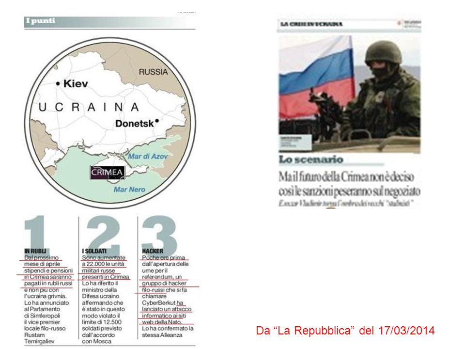 Da The New York Times del 17/03/2014 Crimea's parliament declares independence Announcement comes hours after voters opt to break from Ukraine Da Financial Times del 17/03/2014