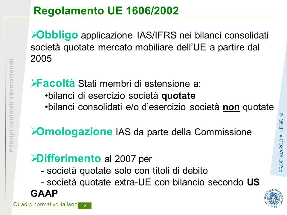 Quadro normativo italiano 3 Principi contabili internazionali PROF.MARCO ALLEGRINI Applicazione IAS/IFRS: posizione Stati membri Bilancio Consolidatoesercizio Quotate Non quotate ObbligoFacoltàFacoltà