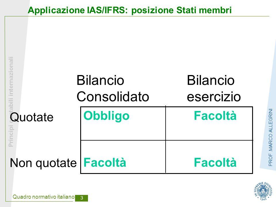 Quadro normativo italiano 4 Principi contabili internazionali PROF.MARCO ALLEGRINI Tempi di applicazione IAS/IFRS nell'UE Applicazione sostanziale 2003 Applicazione formale 2005 Obbligo di comparazione temporale con dati 2004 Necessità di stato patrimoniale chiusura 2003