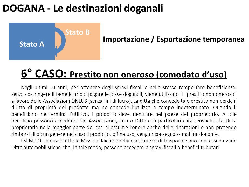 DOGANA - Le destinazioni doganali La merce viene esportata definitivamente dallo Stato A allo Stato C , passando per lo Stato B .