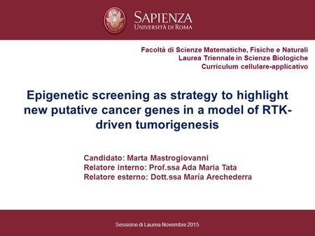 Epigenetic screening as strategy to highlight new putative cancer genes in a model of RTK- driven tumorigenesis Facoltà di Scienze Matematiche, Fisiche.