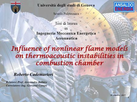 Influence of nonlinear flame models on thermoacoustic instabilities in combustion chamber 1 Roberto Cademartori Relatore: Prof. Alessandro Bottaro Correlatore: