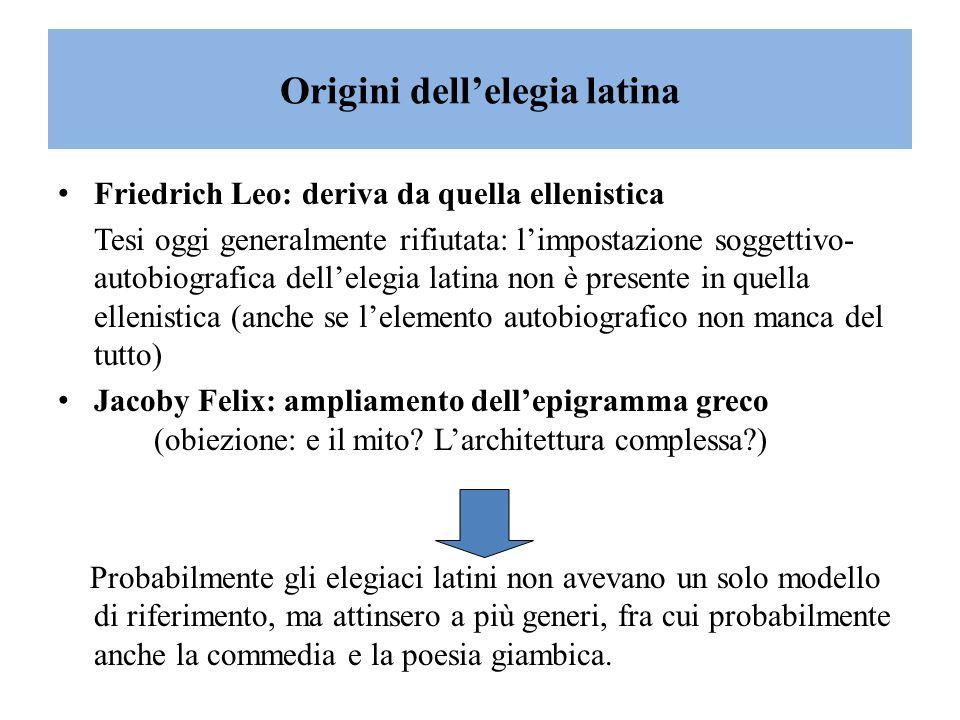 L'elegia romana ha carattere prevalentemente amoroso e soggettivo Limiti del soggettivismo e dell'autobiografismo dell'elegia latina l'esperienza personale si sviluppa attraverso situazioni tipiche e e fa riferimento a valori canonici = si crea un codice elegiaco