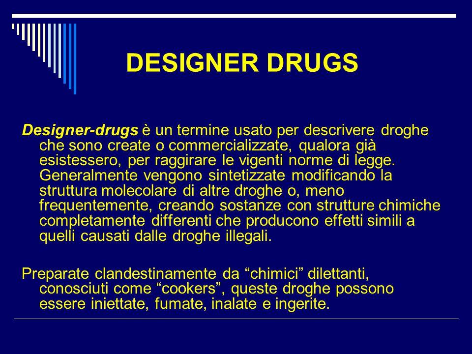 Le principali designer drugs  Mefedrone  Derivati del CHAT  Ketamina e suoi derivati  Cannabinoidi sintetici ( sigla J WH )  GHB o ecstasy liquida  Derivati del fentanile  POPPER e suoi derivati  Cyber drugs