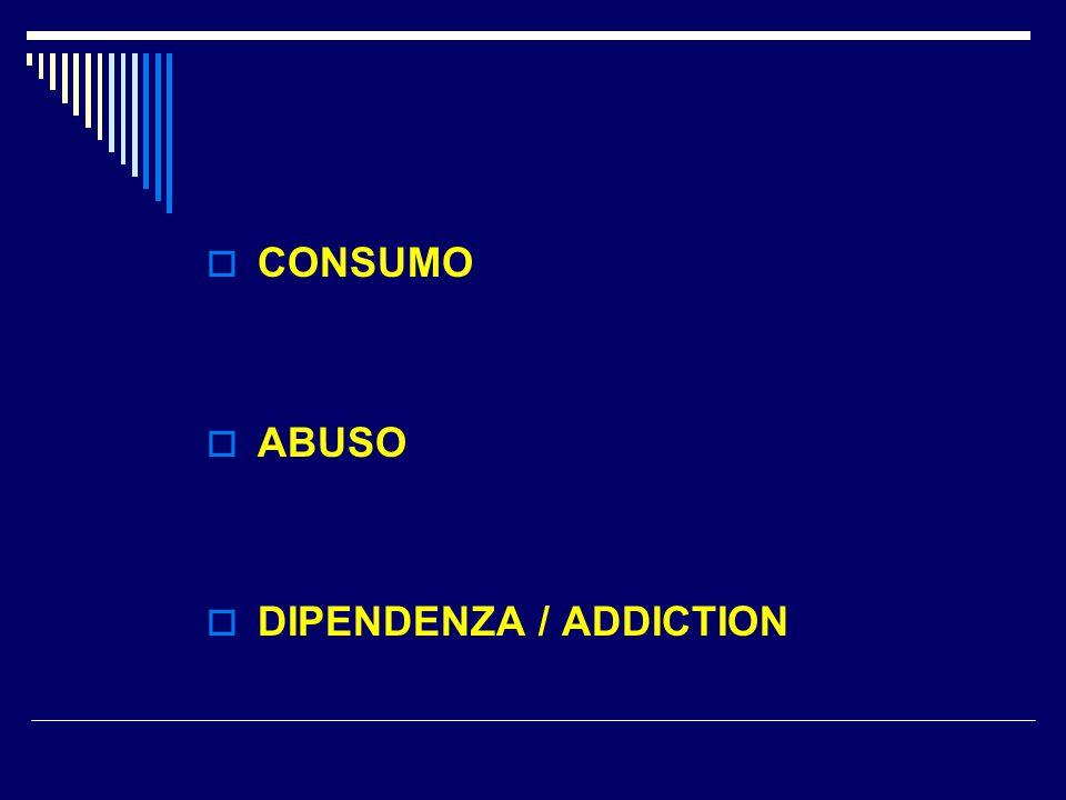 Dipendenze patologiche  Dipendenza da alcol e/o sostanze stupefacenti ( droghe )  Dipendenze comportamentali : - Gambling o gioco patologico - Internet addiction - Sex addiction - Shopping compulsivo