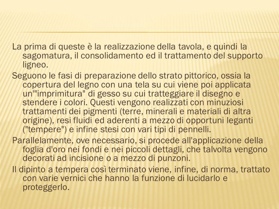 Dopo Giotto, nel Trecento, si iniziò a preferire fondi architettonici e paesistici, riducendo gradualmente, in alcune scuole pittoriche, la percentuale di tavola decorata a oro: in questo senso fu molto all avanguardia la scuola senese.