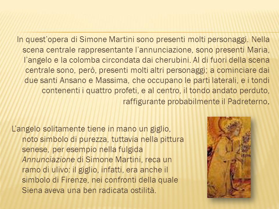 L'ANGELO E LA BEATA VERGINE L'Arcangelo è inginocchiato, e tiene nella mano destra un ramoscello d'ulivo.