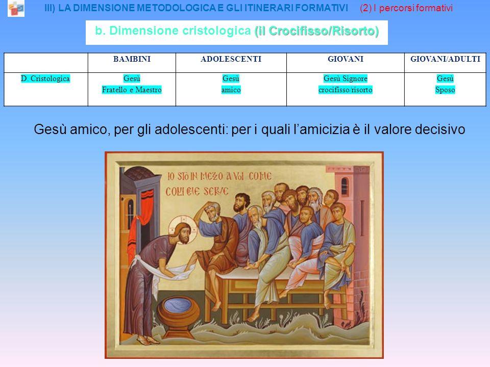 III) LA DIMENSIONE METODOLOGICA E GLI ITINERARI FORMATIVI (2) I percorsi formativi BAMBINIADOLESCENTIGIOVANIGIOVANI/ADULTI D.