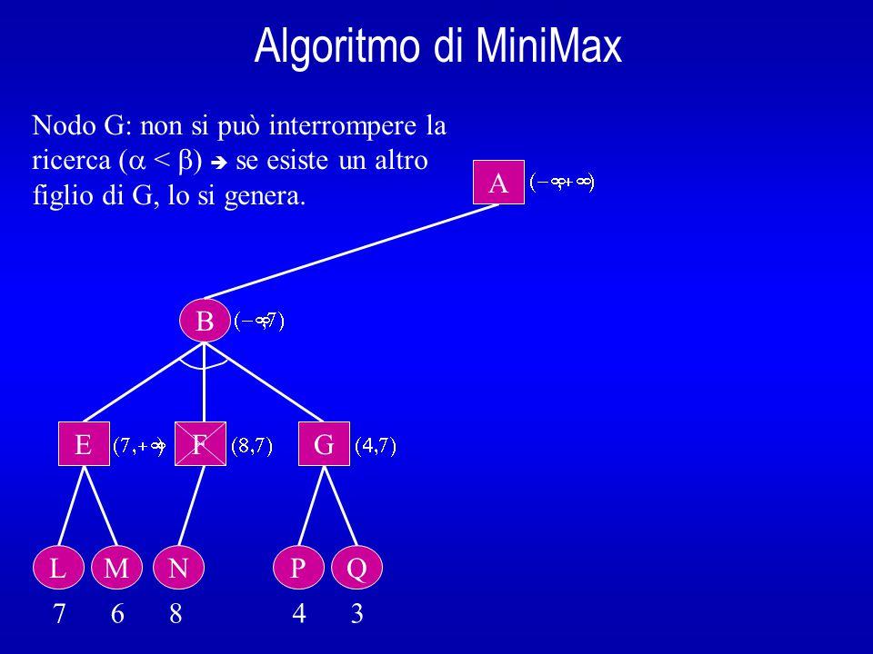 Algoritmo di MiniMax B A  E L 7 6 8 4 3  Non ci sono più figli da generare  si ritorna  al nodo padre B che, essendo un nodo OR, imposterà  come il minore tra il valore ritornato e il valore attuale di .