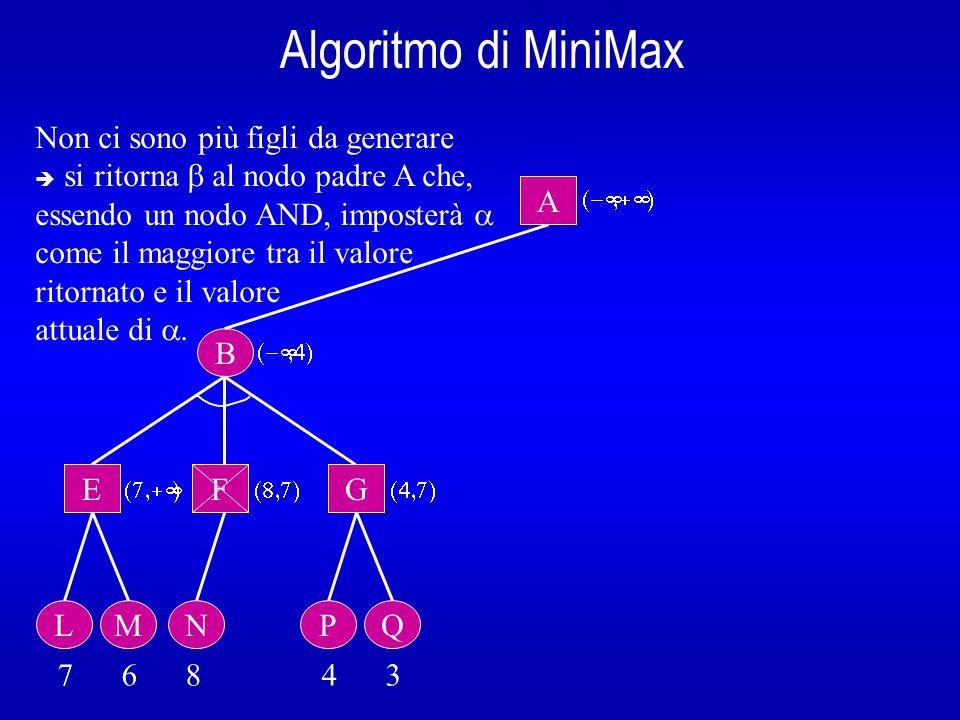 Algoritmo di MiniMax B A E L 7 6 8 4 3  Nodo A: non si può interrompere la ricerca (  <  )  se esiste un altro figlio di A, lo si genera.