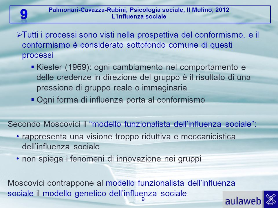 Palmonari-Cavazza-Rubini, Psicologia sociale, Il Mulino, 2012 L'influenza sociale 3.