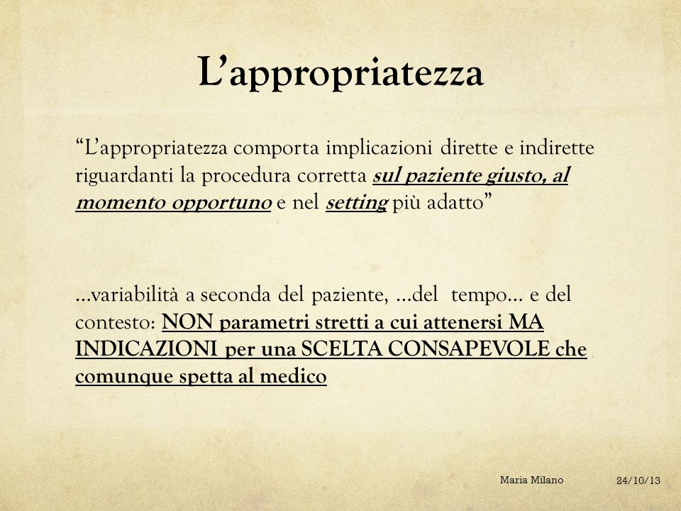 Se le differenze indicano l'esistenza di prescrizioni inappropriate: Quale senso attribuire alle differenze.