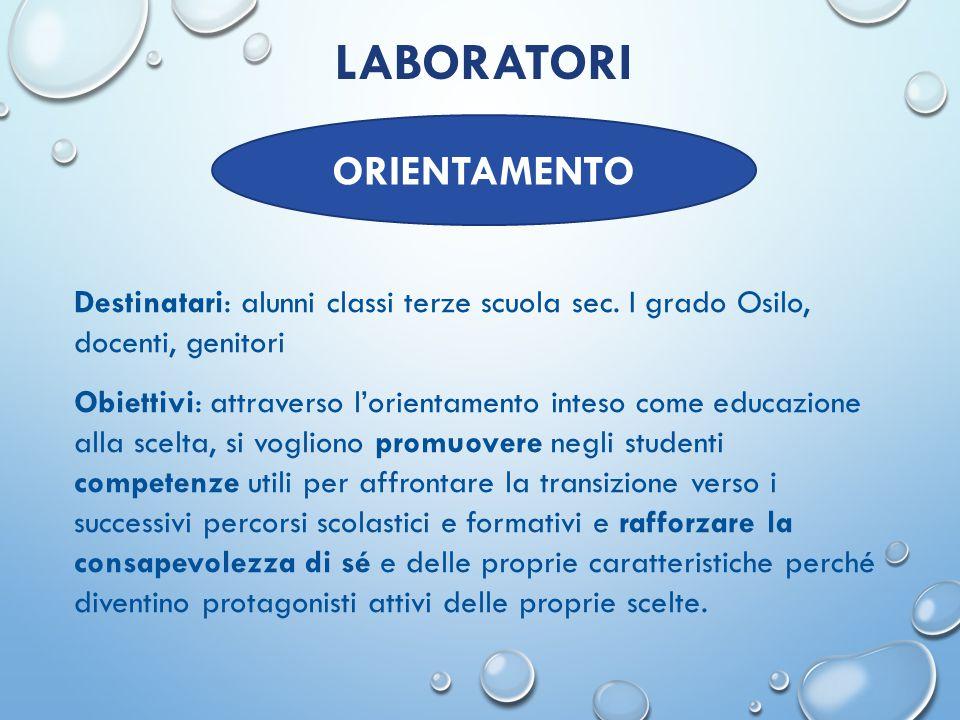 LABORATORI Articolazione: l'azione prevede 3 FASI: 1.Laboratori in classe: 12 ore di formazione orientativa + 2 ore di restituzione 2.Formazione docenti: 8 ore.