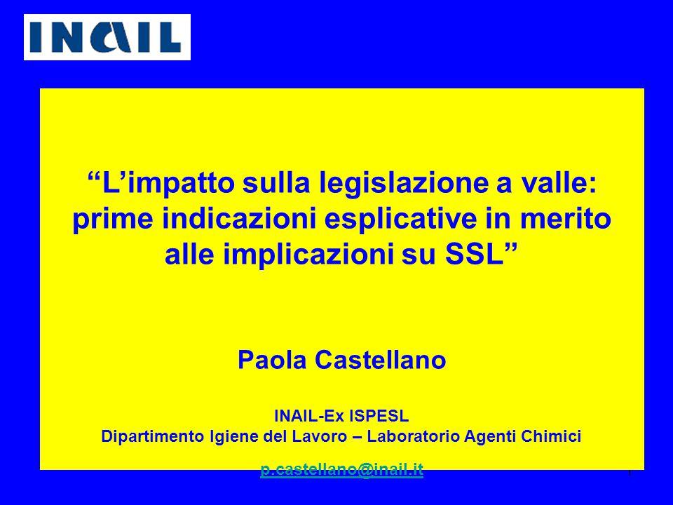 2 Commissione Consultiva Permanente sulla Salute e Sicurezza sul Lavoro (D.Lgs 81/08 e s.m.i, Titolo I, Capo II Sistema istituzionale , Art.