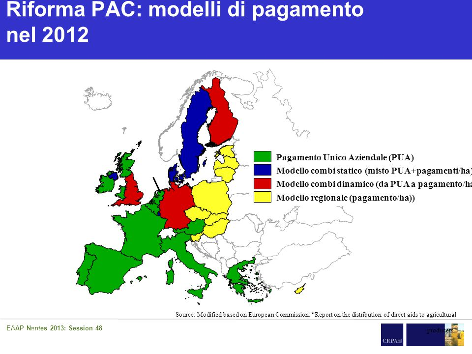 Impatto riforma PAC dopo 2014 Tavola Rotonda 10/05/2014 – Gruppo Uinpeg 27 L'applicazione della Riforma in Francia 1.Per il pagamento base adozione del modello di convergenza parziale (perdita massima del 30% del valore iniziale) 2.Greening attribuito in % del pagamento base.