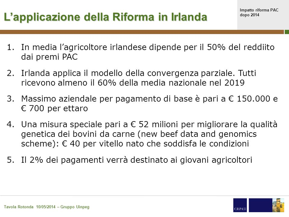 Impatto riforma PAC dopo 2014 Tavola Rotonda 10/05/2014 – Gruppo Uinpeg 32 L'applicazione della Riforma in Spagna 1.Definizione restrittiva dell'agricoltore attivo.