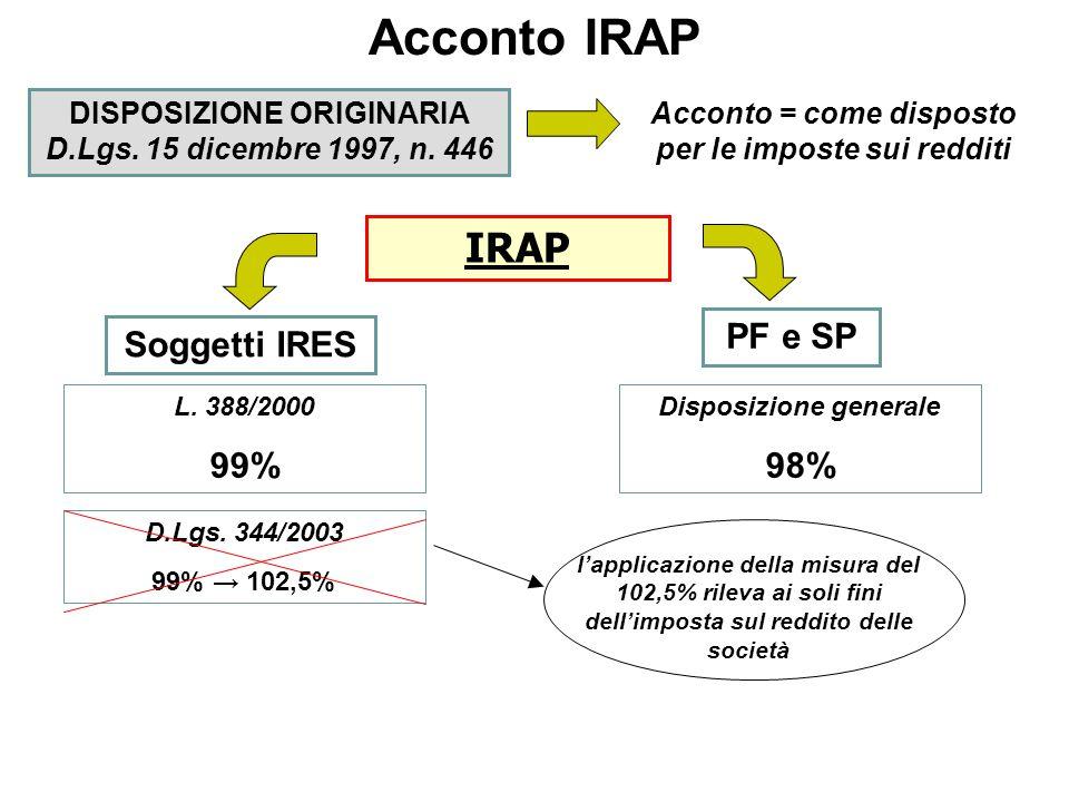 Acconto IRAP Soggetti obbligati tutti i seguenti contribuenti che hanno presentato o comunque avrebbero dovuto presentare la Dichiarazione dei Redditi per il periodo d'imposta 2004 soggetti IRPEF Importo del rigo IQ90Acconto Inferiore o uguale a 51,00 euroAcconto non dovuto Uguale o superiore a 52,00Acconto dovuto soggetti IRES Importo rigo IQ101 (SC) – IQ90 (ENC) Acconto Inferiore o uguale a 20,00 euroAcconto non dovuto Uguale o superiore a 21,00Acconto dovuto Misura I rata accontoModalità di versamento Acconto Inferiore uguale 103 eurodovuto in unica soluzione Superiore 103 eurodovuto in due rate