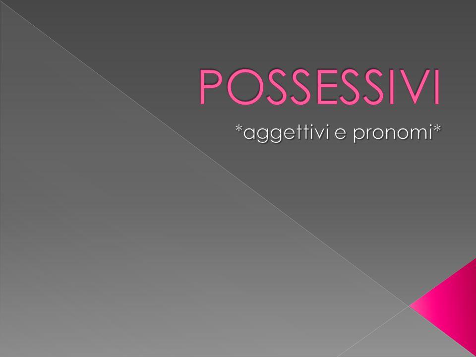 Gli aggettivi possessivi esprimono un rapporto di possesso, di amicizia o di vicinanza.