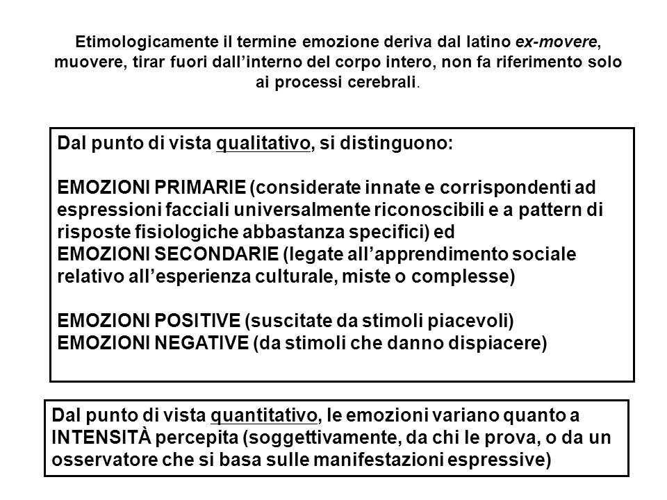 Dal punto di vista della motivazione e della tendenza all'azione, l'organismo è predisposto a rispondere con l'avvicinamento e l'incorporazione a stimoli che danno PIACERE, a valenza positiva, e suscitano EMOZIONI POSITIVE e con l'evitamento al DISPIACERE (EMOZIONI NEGATIVE) si verifica non si verifica DESIDERABILE GIOIA DISPIACERE INDESIDERABILE STRESS SOLLIEVO