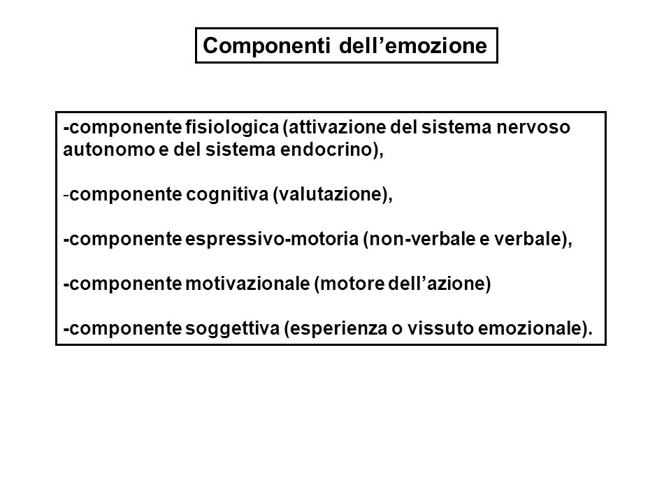 MODIFICAZIONI CORPOREE INTERNE = risposte fisiologiche, in particolare del sistema nervoso autonomo ESPRESSIONI FACCIALI = contrazioni muscolari che muovono i tratti del viso RISPOSTE ALL'EMOZIONE = modi di regolare le emozioni reagendo ad esse o affrontando le situazioni che le hanno indotte ************************************************ VALUTAZIONE COGNITIVA = attribuzione di significato alle circostanze ESPERIENZA SOGGETTIVA = tono affettivo del vissuto privato TENDENZE AL PENSIERO E ALL'AZIONE = urgenza a comportarsi in certi modi (motivazione) o a formare rappresentazioni Aspetto fisiologico- comportamentale Aspetto cognitivo e fenomenologico Le componenti dell'emozione come costrutto multidimensionale