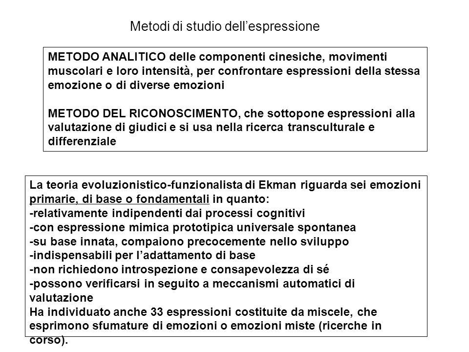 Teoria del feedback facciale Già William James (1890) attribuiva importanza ai segnali muscolari come determinanti l'emozione: restate tutto il giorno con un'espressione abbattuta, sospirate e rispondete a ogni cosa con voce triste e la malinconia vi coglierà… Paradigma dell'induzione muscolare di Levenson (2003): l'assunzione volontaria delle espressioni facciali corrispondenti alle emozioni, per una certa durata, è associata sia all'esperienza soggettiva dell'emozione corrispondente sia all'attivazione differenziata del sistema nervoso autonomo.