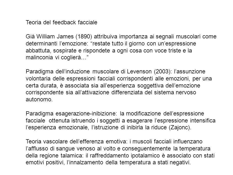 TEORIA PERIFERICA di James-Lange TEORIA CENTRALE di Cannon-Bard TEORIA DEI DUE FATTORI di Schachter TEORIA EVOLUZIONISTICA di Oatley TEORIA del feedback facciale TEORIA della costruzione sociale, ecc.