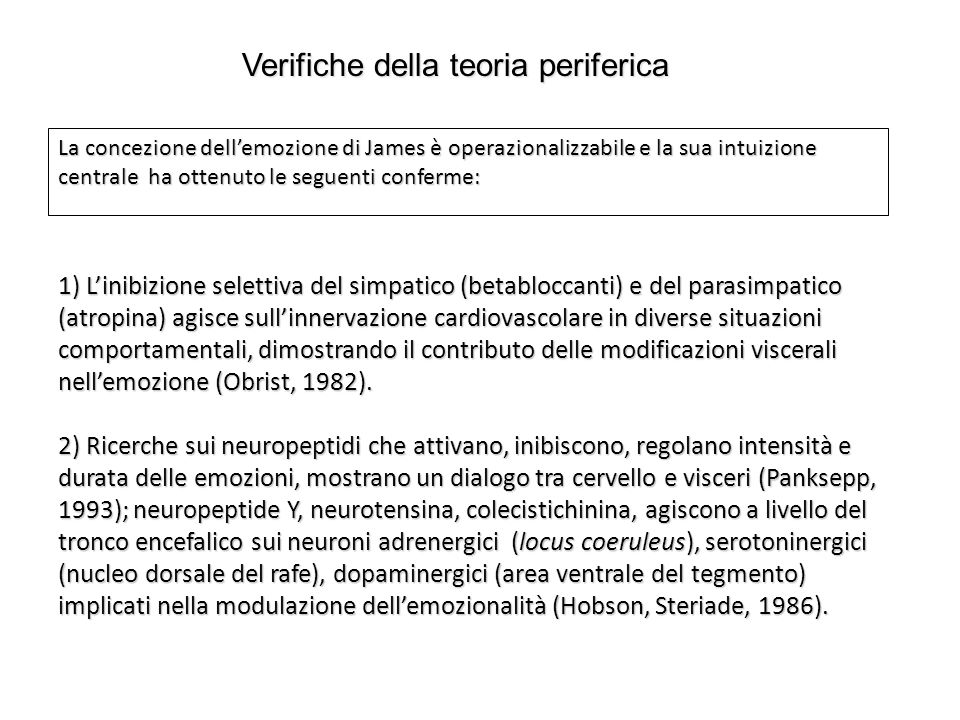 3) Evidenze relative all'ipotesi del feedback facciale (le espressioni facciali forniscono informazioni di ritorno, propriocettive, muscolari e cutanee (Tomkins, 1984) o vascolari (Zajonc, 1985), che influenzano l'esperienza emotiva): paradigma dell'esagerazione-inibizione (valutazione di shock dolorosi, di film e di odori piacevoli e spiacevoli); paradigma dell'induzione muscolare (contraendo intenzionalmente i muscoli facciali delle sei emozioni fondamentali i soggetti presentano configurazioni differenti di reazioni del sistema nervoso autonomo e riportano esperienze soggettive corrispondenti).
