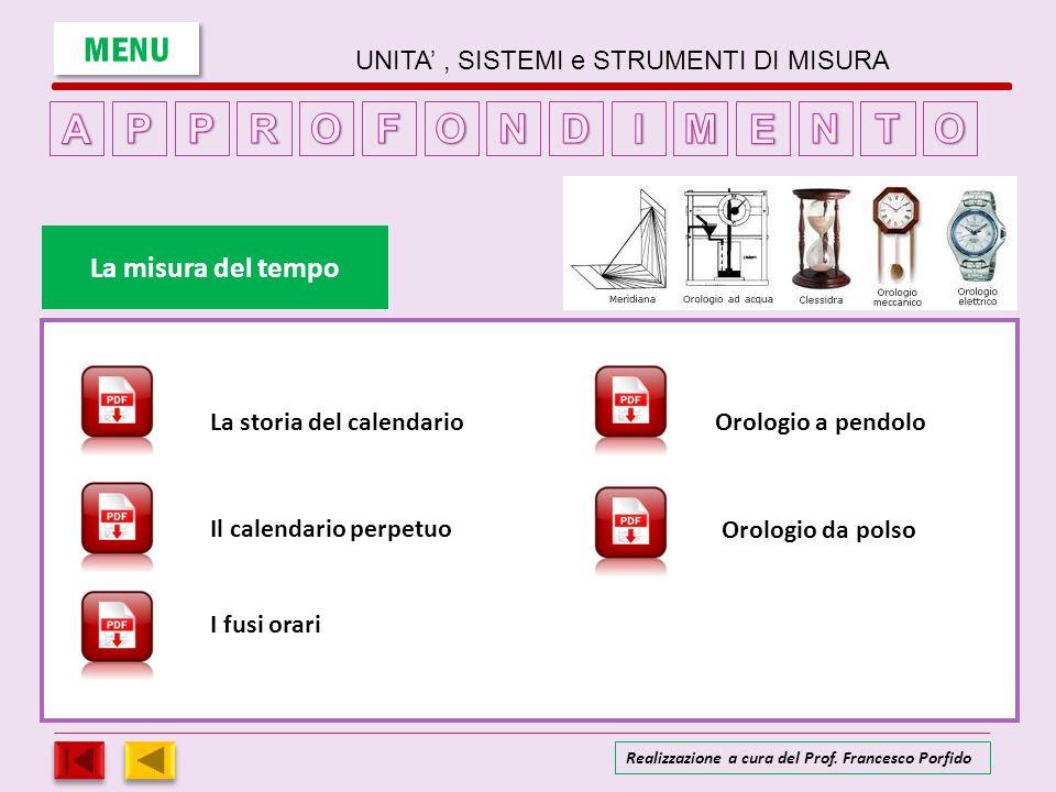 UNITA', SISTEMI e STRUMENTI DI MISURA LA MISURA DELLA TEMPERATURA MENU entra Realizzazione a cura del Prof.