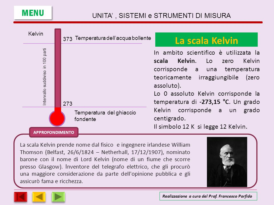 SCALE TERMOMETRICHE APPROFONDIMENTO Temperatura dell'acqua bollente Temperatura del ghiaccio fondente Kelvin RéaumurFahrenheitCelsius 100 0 373 273 212 32 80 0 Intervallo suddiviso in 100 parti Intervallo suddiviso in 180 parti Intervallo suddiviso in 100 partiIntervallo suddiviso in 80 parti Tk = Tc + 273Tc = Tk – 273 Esempio: Tc = 30 °CTk = 30 + 273 = 303 K Tk = 343 KTc = 343 – 273 = 70 °C Tc/100 = (Tf -32)/180 Esempio: Tc = 30 °CTf = 32 + Tcx180/100 = 32 + 30x180/100 = 86 °F Tf = 68 °FTc = (Tf -32)x100/180 = (68 -32)x100/180 = 20 °C MENU UNITA', SISTEMI e STRUMENTI DI MISURA Realizzazione a cura del Prof.