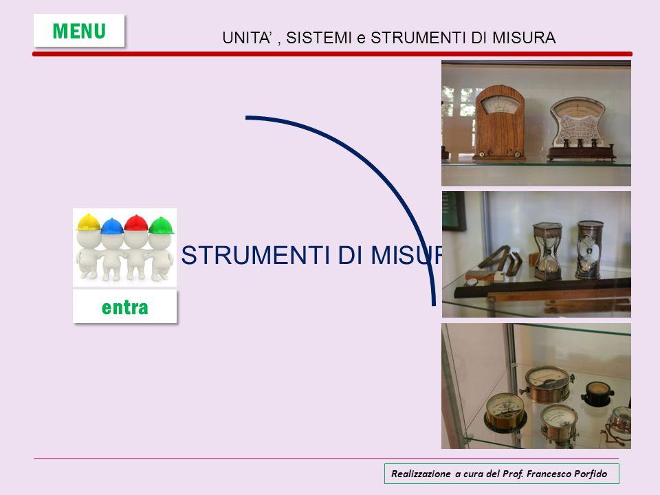 Gli strumenti di misura Uno strumento di misura è un dispositivo destinato a fare una misurazione è la misura massima (e minima) che lo strumento riesce a misurare.