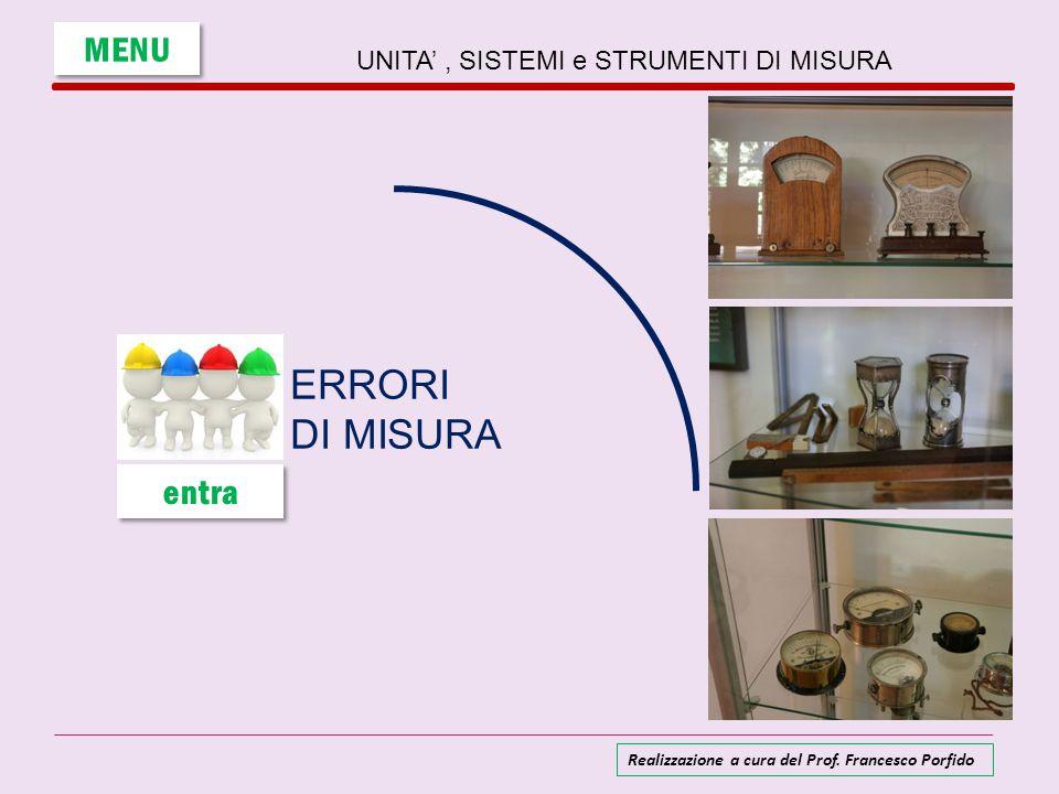 Gli errori nelle misure TIPI DI ERRORI Nessuna misurazione è in grado di fornire un risultato esattamente uguale al valore vero della grandezza misurata.