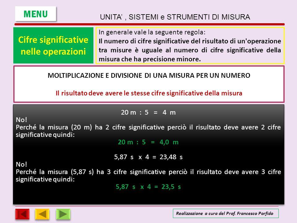 Cifre significative Le cifre significative nelle operazioni MOLTIPLICAZIONE E DIVISIONE DI MISURE Il risultato deve avere lo stesso numero di cifre significative della misura meno precisa 5,870 m x 2,5 m = 14,675 m 2 No.