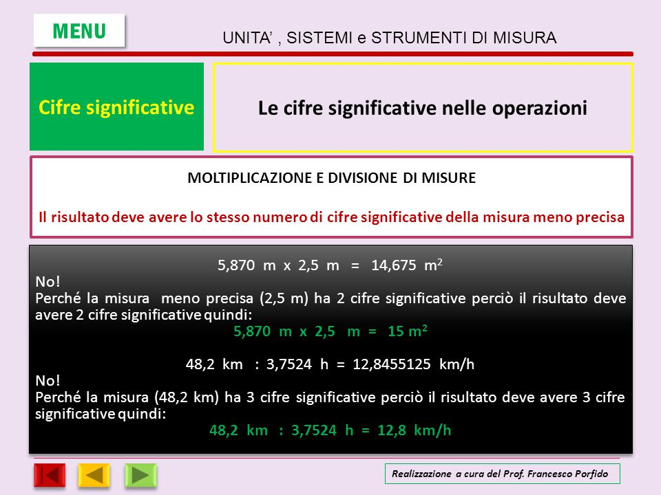 Cifre significative Le cifre significative nelle operazioni ADDIZIONE E SOTTRAZIONE DI MISURE Il risultato deve avere lo stesso numero di cifre significative della misura meno precisa Nel calcolo si sommano numeri con precisione diversa 31,9 m + 23 m + 4,7354 m = Li approssimiamo in modo da allinearli con il numero che l'incertezza più grande 31,9 32 m + 23 m + 4,7354 5 m = In tal modo si scrive il risultato con il numero corretto di cifre significative 32 m + 23 m + 5 m = 60 m MENU UNITA', SISTEMI e STRUMENTI DI MISURA Realizzazione a cura del Prof.