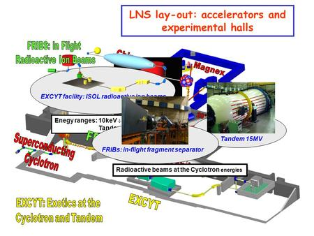 LNS lay-out: accelerators and experimental halls Superconducting Cyclotron <80MeV/amu Tandem 15MV EXCYT facility: ISOL radioactive ion beams Enegy ranges: