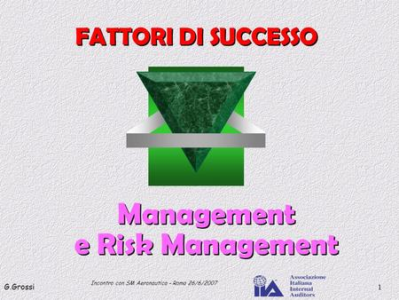 Incontro con SM Aeronautica – Roma 26/6/2007 G.Grossi1 Management e Risk Management Management e Risk Management FATTORI DI SUCCESSO.