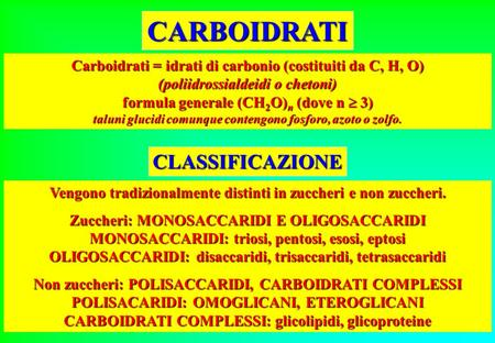 CARBOIDRATI CLASSIFICAZIONE