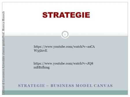STRATEGIE – BUSINESS MODEL CANVAS STRATEGIE Lezioni di Economia Aziendale classe quinta Prof. Monica Masoch 1 https://www.youtube.com/watch?v=asCA W35krcE.